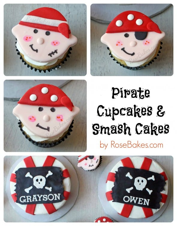 Pirate Flag Smash Cakes And Pirate Face Cupcake Toppers Rose Bakes
