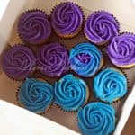 Purple & Teal Roses Cupcakes