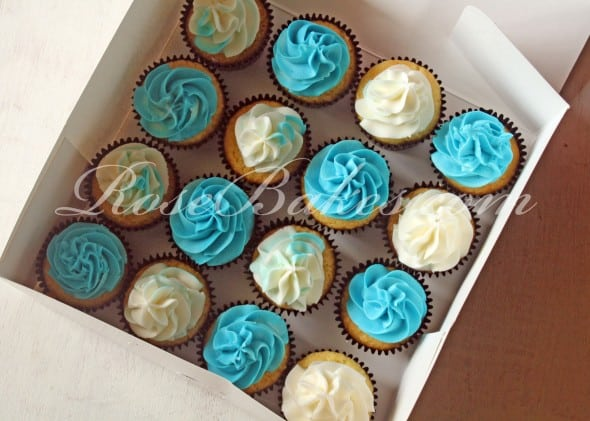 Teal & White Cupcakes