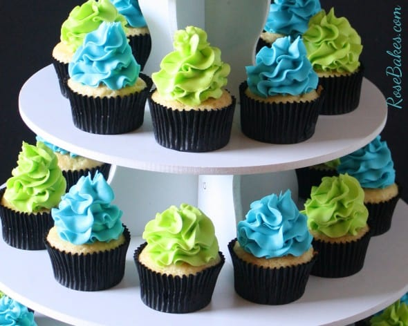 Teal and Lime Green Cupcakes