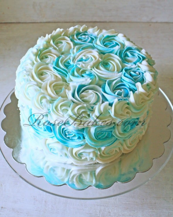 Teal and White Buttercream Roses Cake