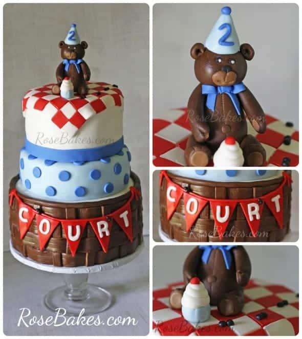 Teddy Bear Picnic Birthday Cake Rose Bakes