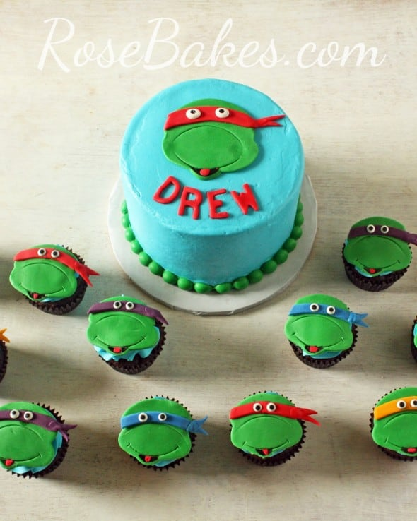 Teenage Mutant Ninja Turtles Cake and Cupcakes - Rose Bakes