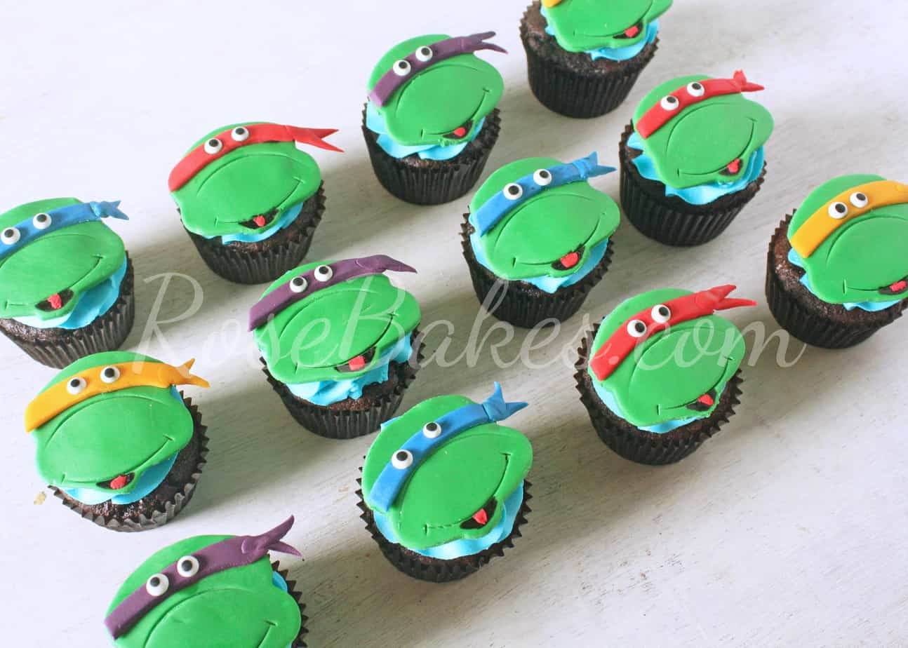 how to make a ninja turtle cupcake cake