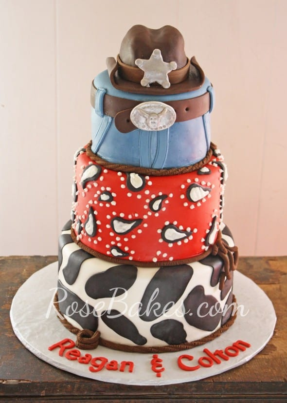 Western Cowboy Cake with Cowboy Hat Cake Topper