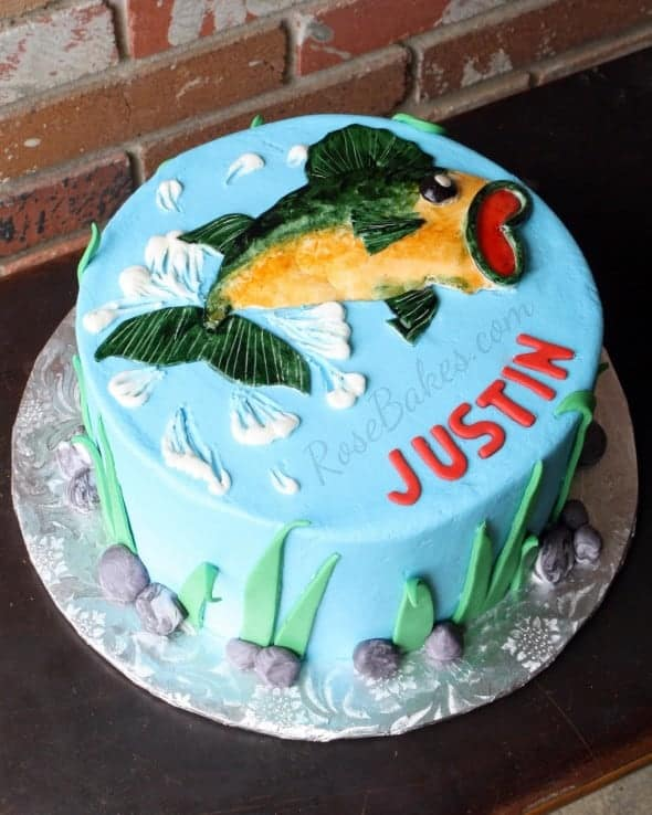 Bass fishing cake rose bakes for Baked fish cakes