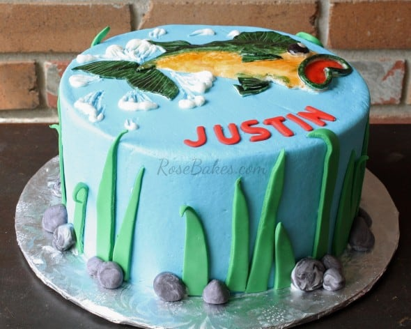 Bass Fishing Cake Side