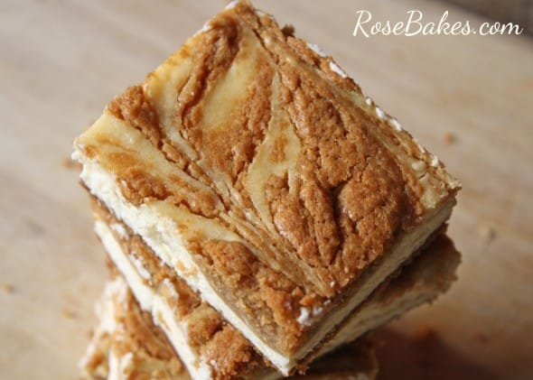 Biscoff Cookie Butter Swirled Cheesecake Bars
