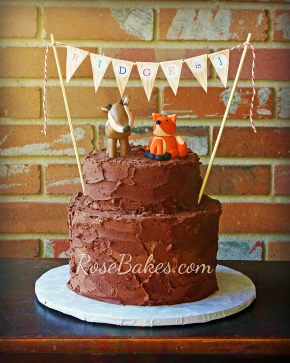 Camping Deer Fox Outdoors Rustic Chocolate Birthday Cake