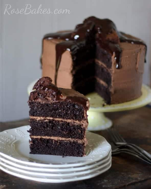Dark Chocolate Cake with Brownie Batter Frosting and Chocolate Sauce