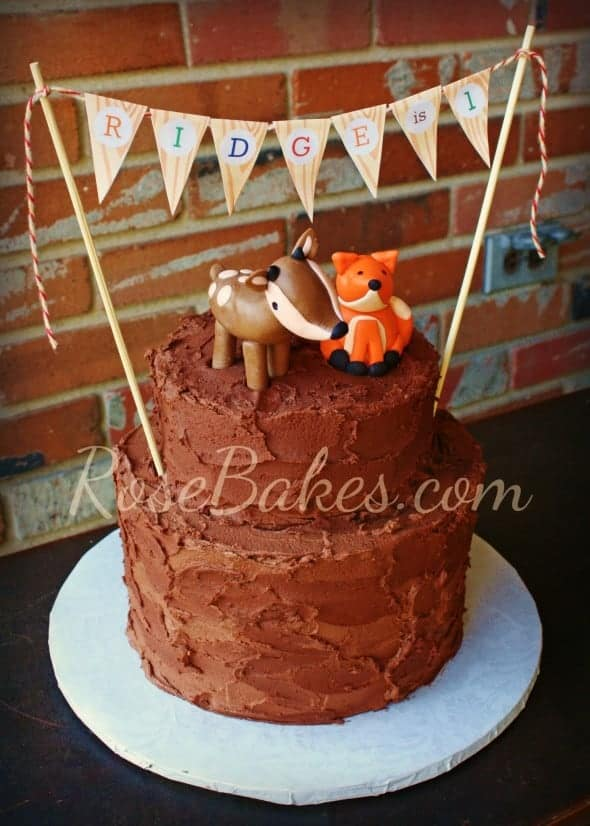 Deer & Fox Rustic Chocolate Birthday Cake with Bunting 2