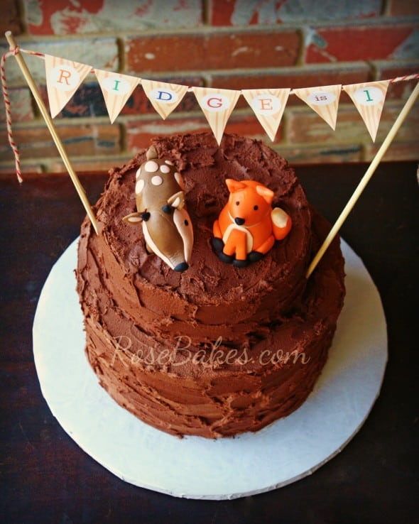 Deer & Fox Rustic Chocolate Birthday Cake with Bunting
