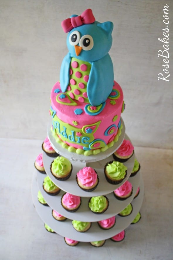 Owl Cake And Cupcakes Tower