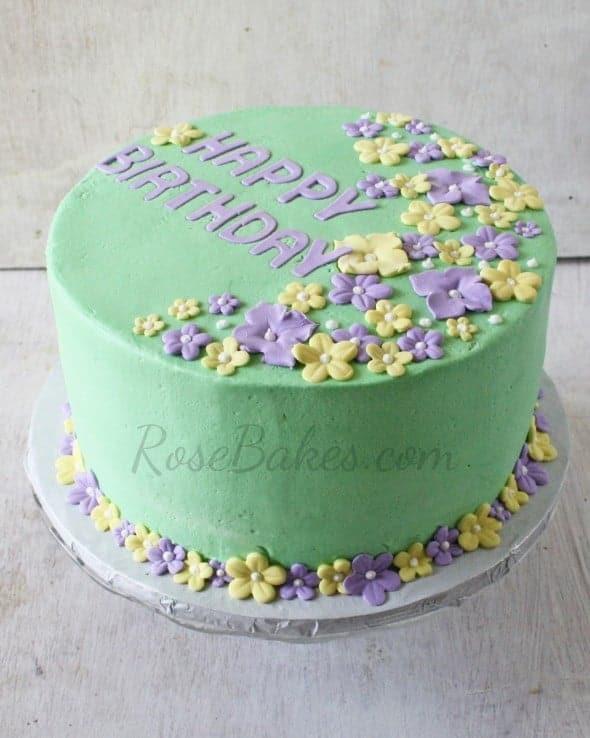 Pastel Tropical Flowers Birthday Cake 2