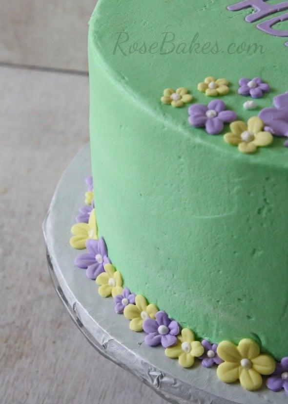 Pastel Tropical Flowers Birthday Cake