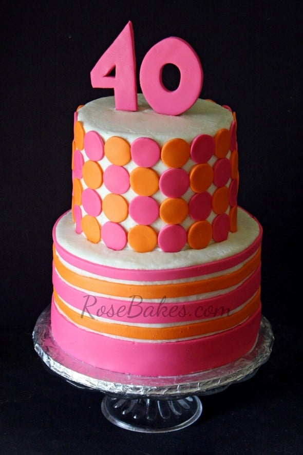 Pink Orange Modern Retro Cake RoseBakes