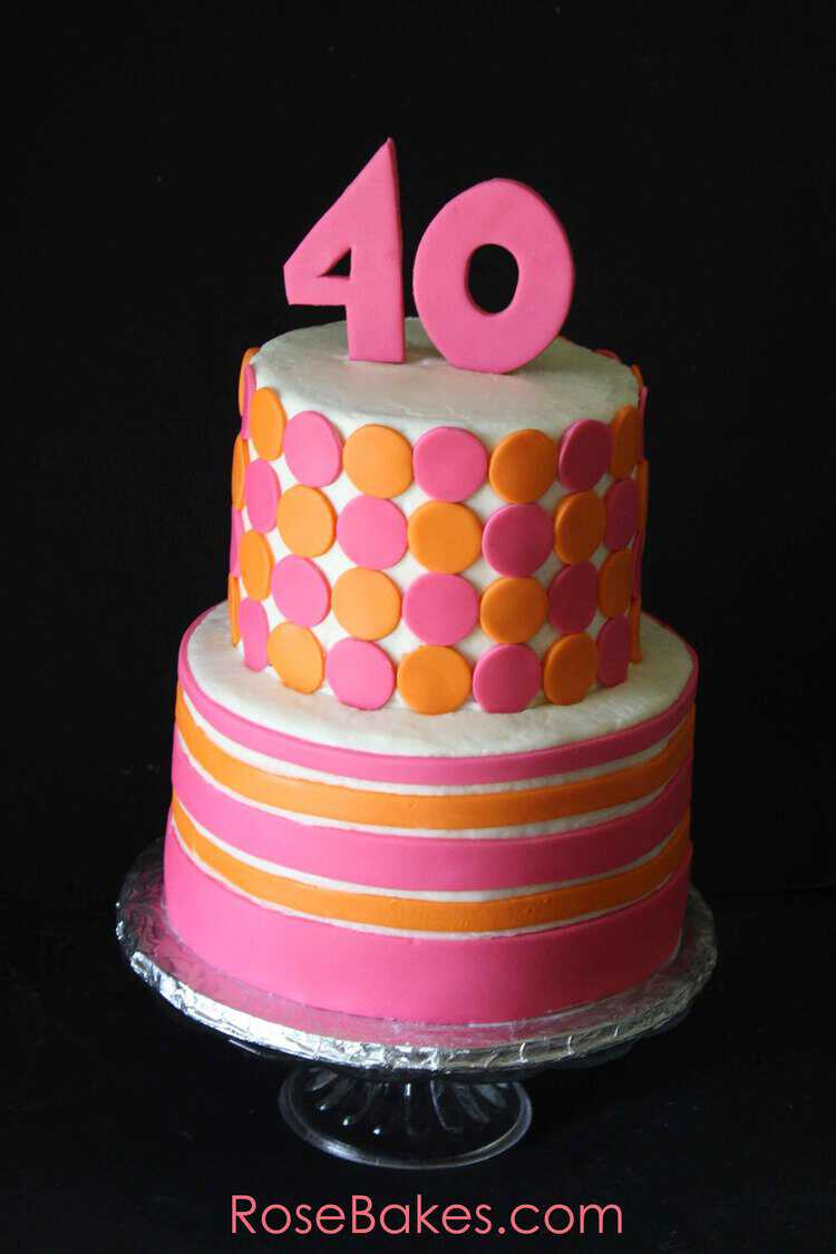 Pink And Orange Mod 40th Birthday Cake