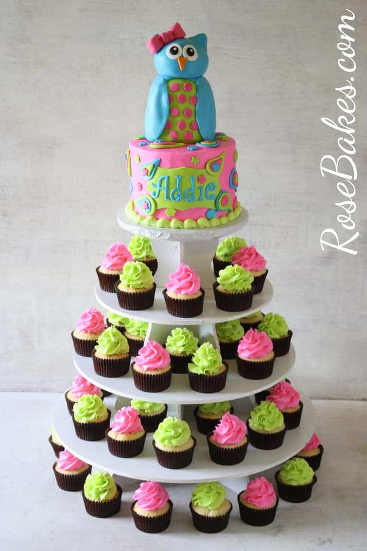 Pink Owl with Paisleys Cake and Cupcakes Tower
