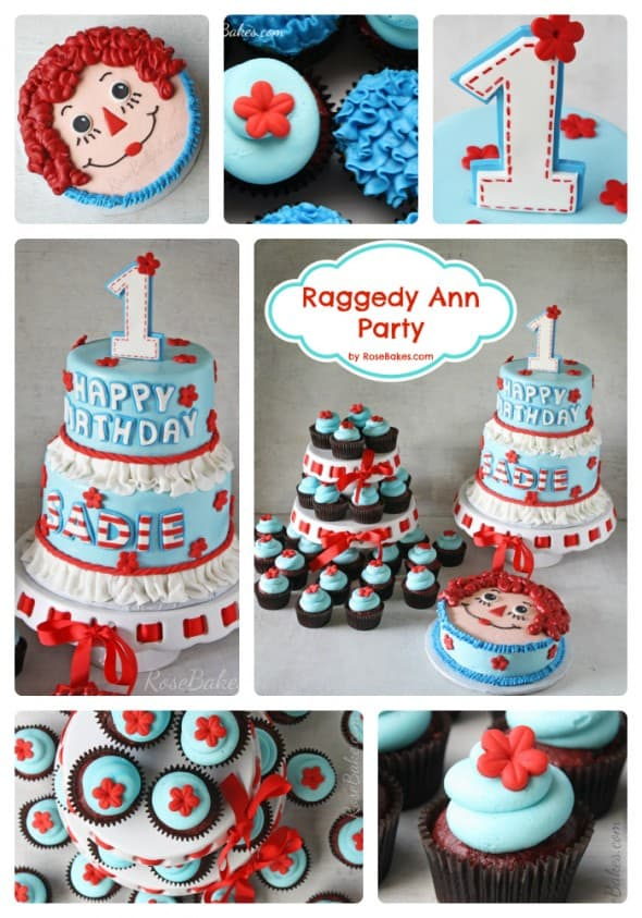 Raggedy Ann Party Cake Cupcakes Smash
