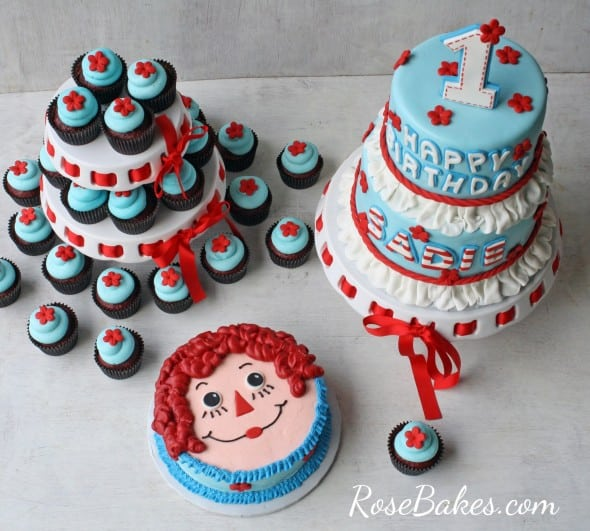 Raggedy Ann Party Cake Cupcakes Smash Cake