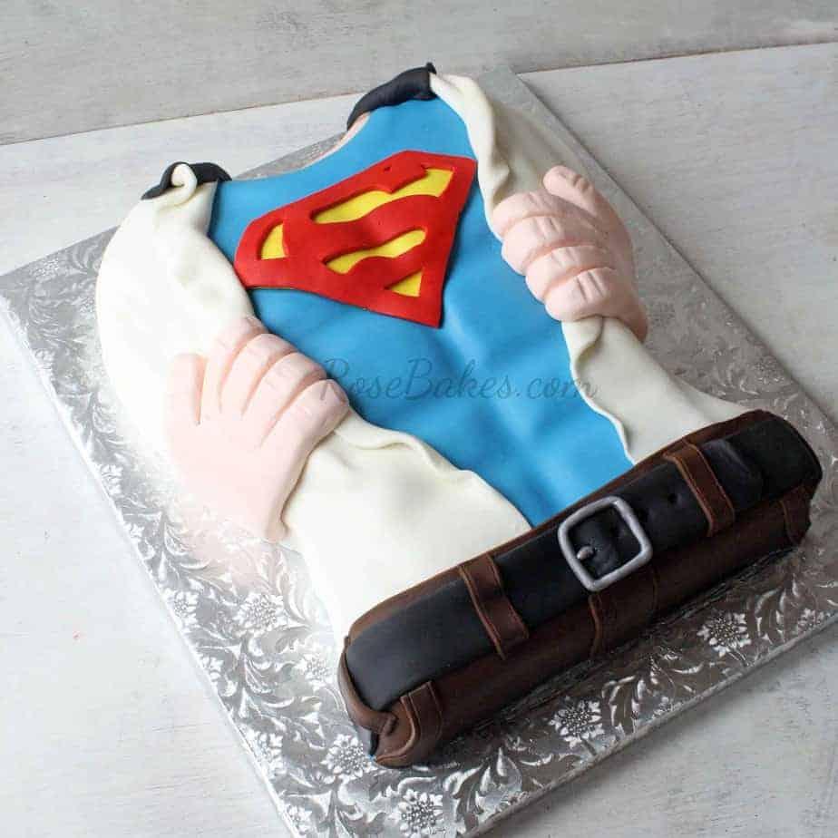 Superman Cake Tearing Open His Shirt Rose Bakes