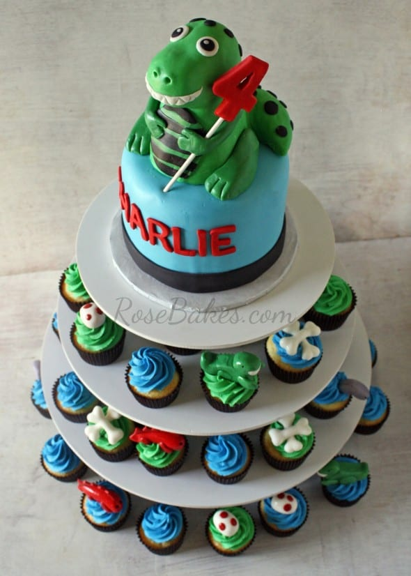 Dinosaur Party T Rex Cake And Cupcake Tower Rose Bakes