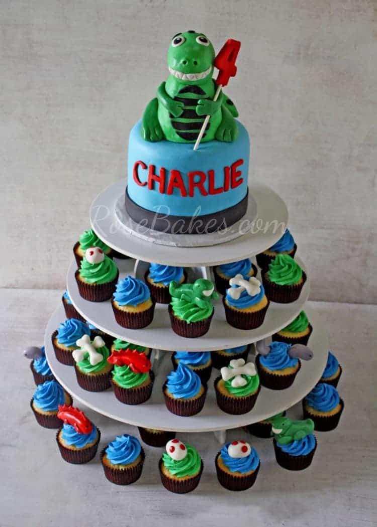 T-Rex Dinosaur Cake and Cupcake Tower