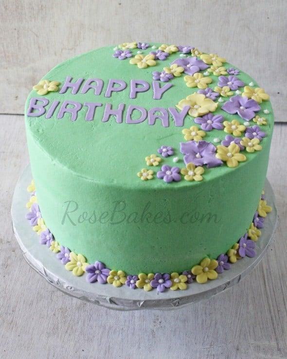 Tropical Flowers Pastel Birthday Cake