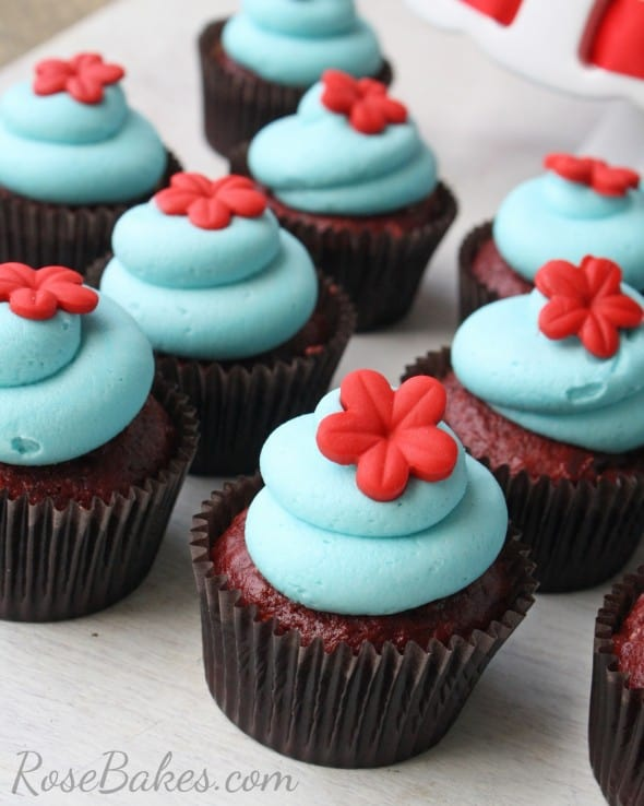Turquoise and Red Raggedy Ann Cupcakes