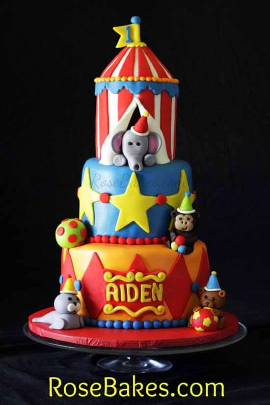 Circus Tent Cake 1st Birthday Rose Bakes
