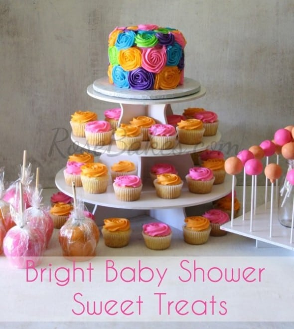 Bright Baby Shower Cake Cupcakes Candy Apples Cupcakes