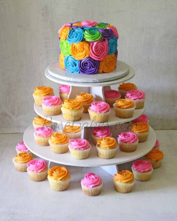 Bright Roses Cake and Cupcake Tower