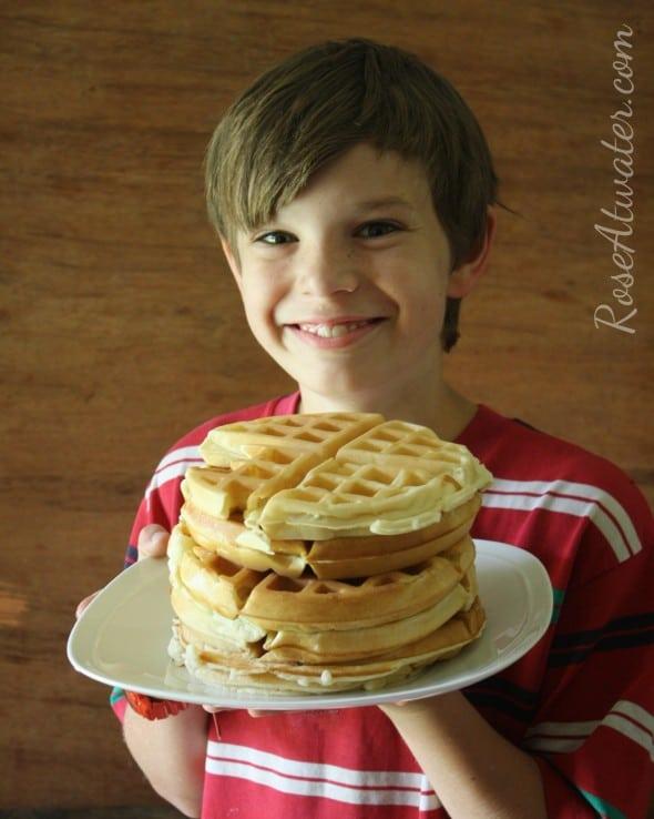 Caleb with Waffles