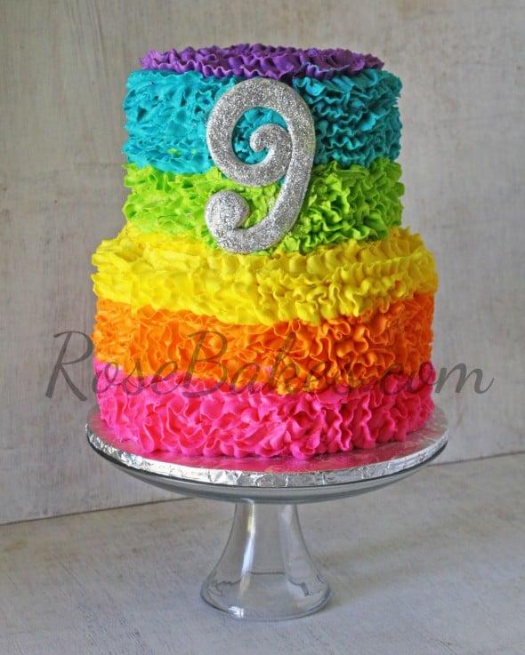 Electric Rainbow Messy Ruffles Cake
