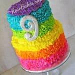 Electric Rainbow Ruffles Cake RoseBakes