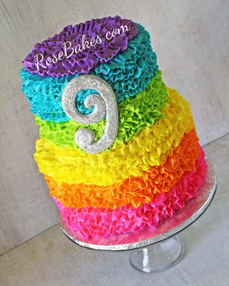 Electric Rainbow Buttercream Ruffles Cake Rose Bakes