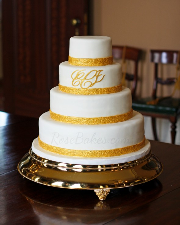 Gold Embossed Monogram Wedding Cake WM