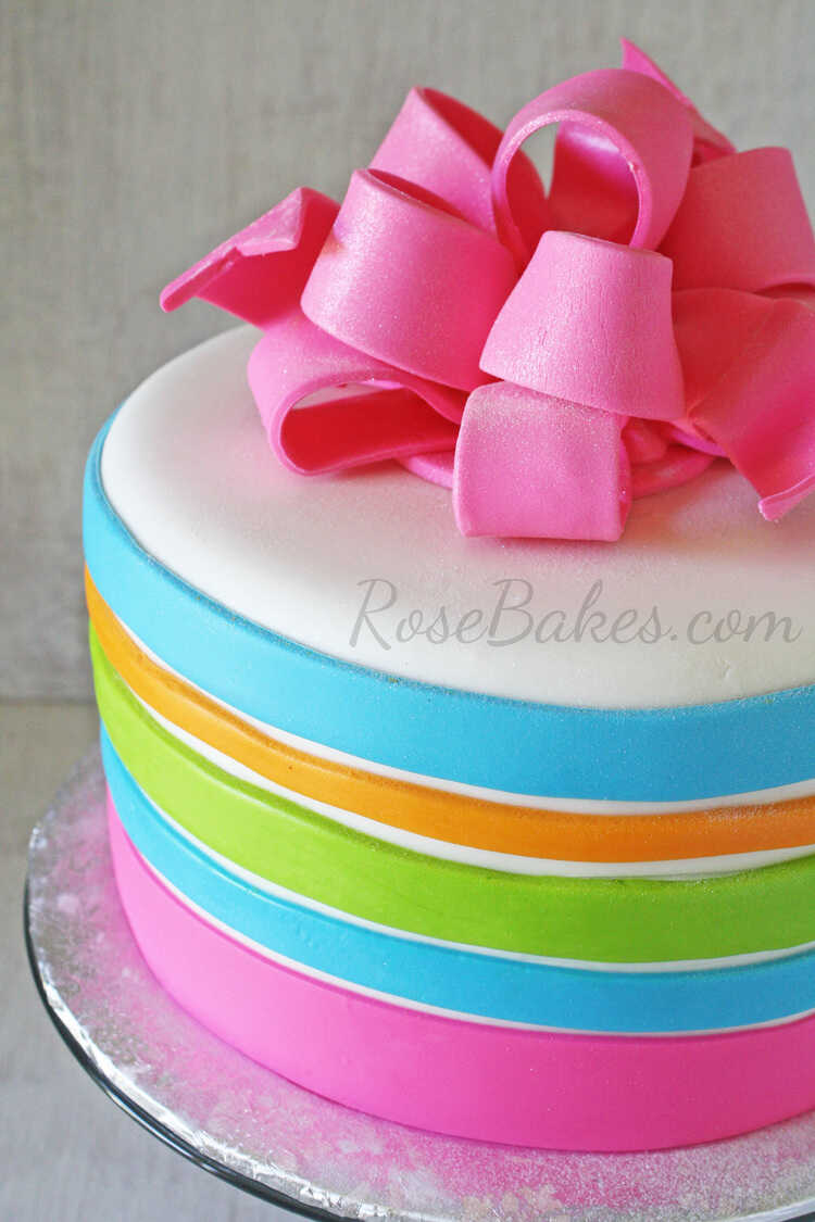 Brilliant Neon Stripes Birthday Cake With Hot Pink Poofy Bow Rose Bakes Funny Birthday Cards Online Overcheapnameinfo