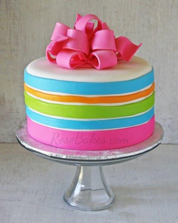 Neon Stripes Cake