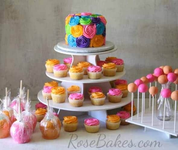 Bright Baby Shower Cake Cupcakes Cake Pops And Candy Apples