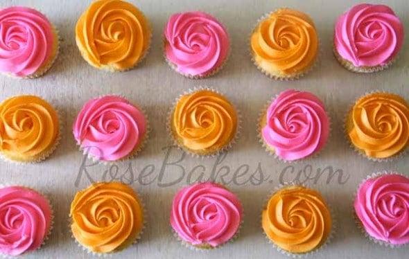 Pink and Orange Rose Cupcakes