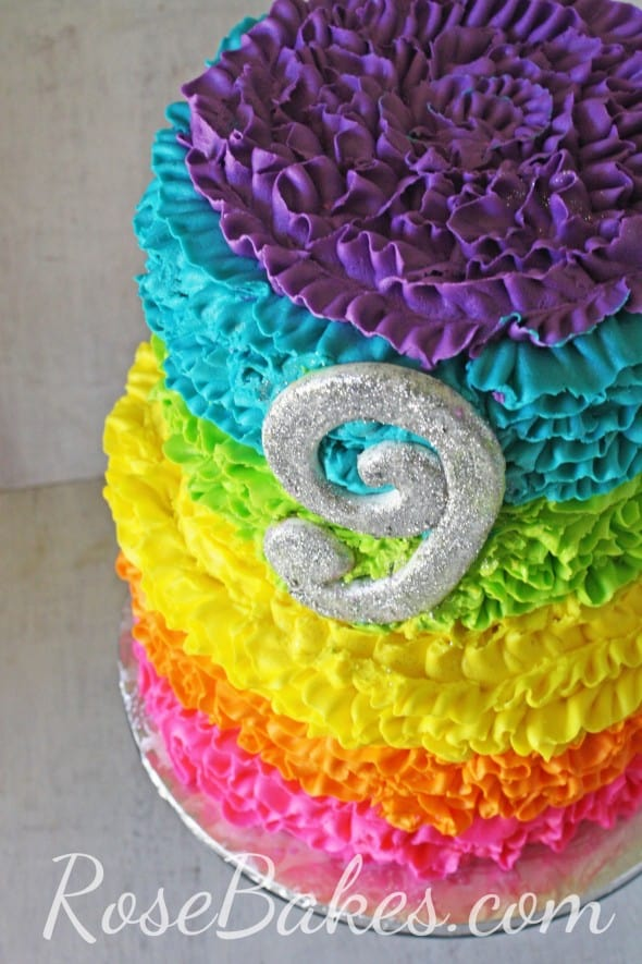 Electric Rainbow Buttercream Ruffles Cake Rose Bakes