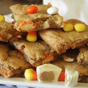 White Chocolate Candy Corn Peanut Butter Blondies