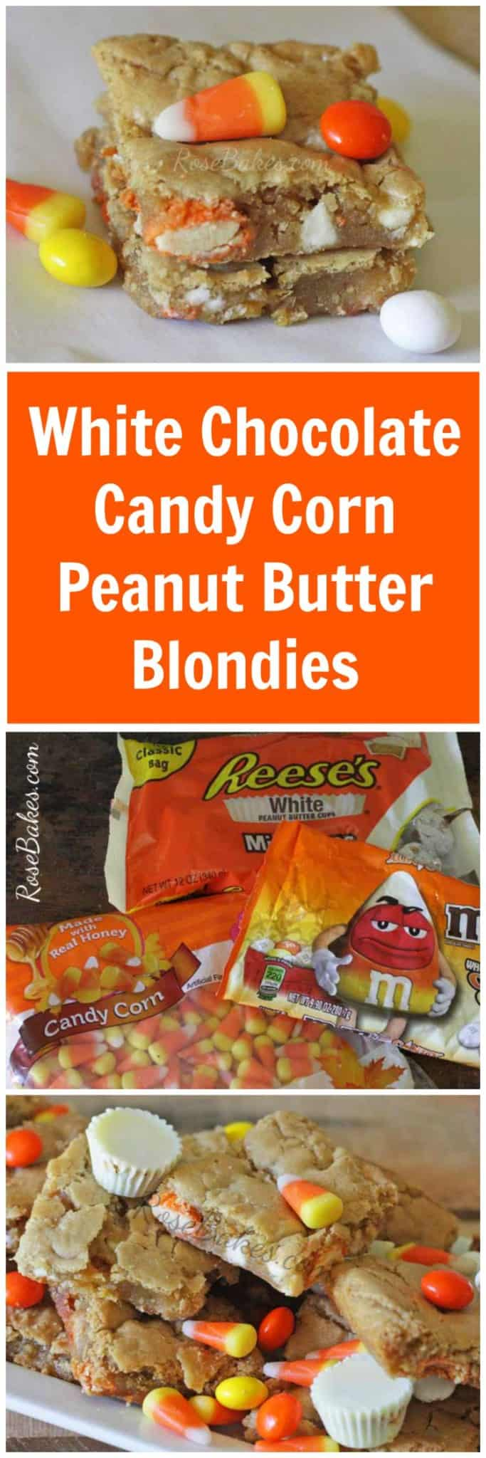 White Chocolate Candy Corn Peanut Butter Blondies - Make this Perfect Fall Dessert