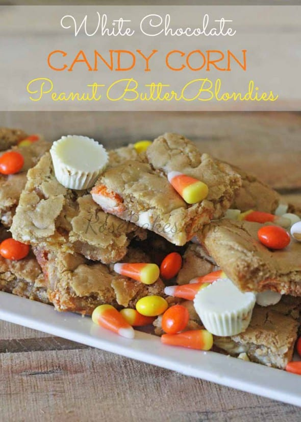 White Chocolate Candy Corn Reeses Blondies Recipe