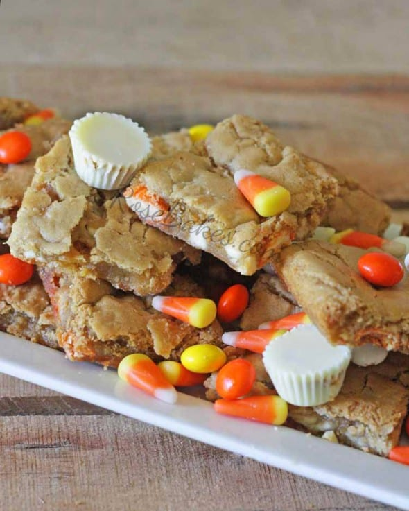 White Chocolate Reeses Candy Corn Blondies