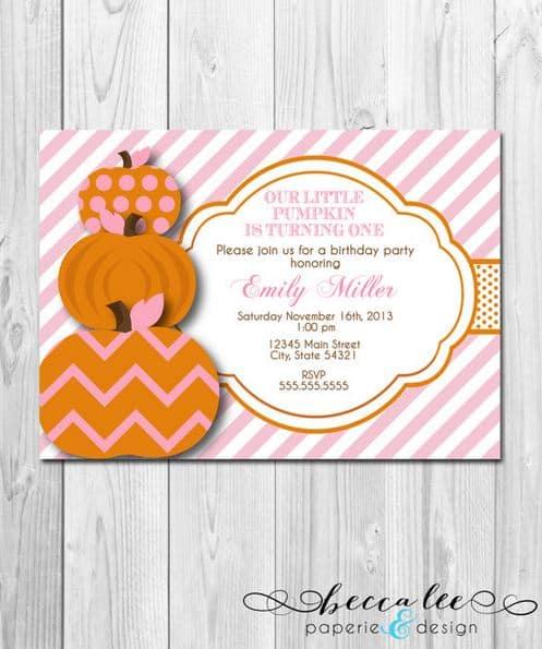 Becca Lee Pumpkin Invitation