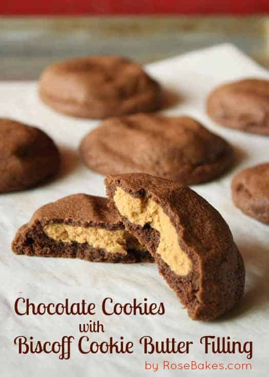 Chocolate Cookies with Biscoff Cookie Butter Filling
