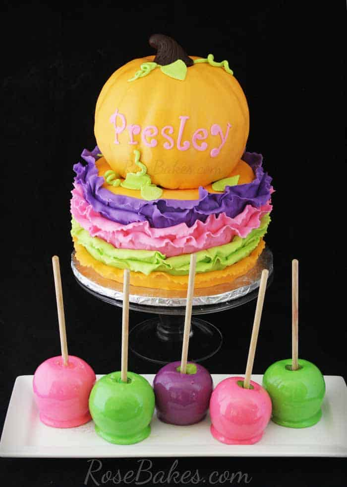 Bright Pumpkin Ruffles Cake with Candy Apples