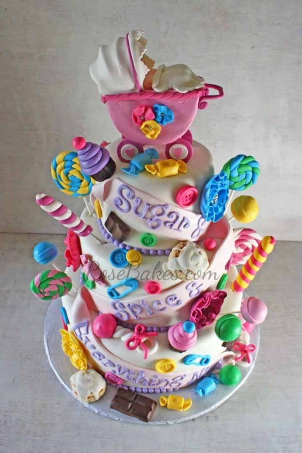 Sugar And Spice And Everything Nice Baby Shower Cake For